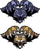 Panther Cougar Mascot Pouncing Vector Logo. Vector Illustration of Panther Mascot Logo Stock Photography