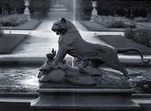 Panther and crocodile. Sculpture of panther and crocodile in Paris, France Stock Image