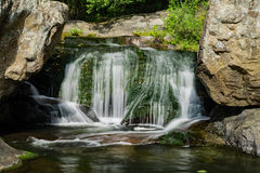 Panther Falls, Amherst County, Virginia, USA - 2. Panther Falls is an extremely popular local swimming hole and waterfall on the Pedlar River east of the Blue stock photography
