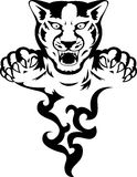 Panther with flame. Illustration of panther tattoo with flame Stock Images