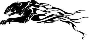 Panther Flame Tattoo. Tiger silhouette or Panther in flame trail design Stock Photos