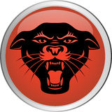 Panther haed button. Illustration of panther head button Royalty Free Stock Photo