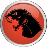 Panther head tattoo button Royalty Free Stock Photography
