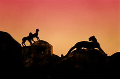 Panther hunting lambs Stock Image
