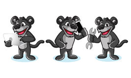 Panther Mascot Vector with laptop. Phone and tools Stock Photography