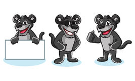 Panther Mascot Vector pose. Happy and bring board Stock Photography