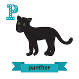 Panther. P letter. Cute children animal alphabet in vector. Funn Royalty Free Stock Photography