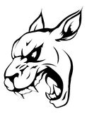 Panther puma or wildcat mascot. A black and white illustration of a fierce wildcat, panther or puma animal character or sports mascot Royalty Free Stock Photography