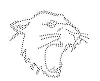 Panther roar cougar Rhinestone emblem 2mm SS6 pattern map logo symbol  illustration heat press diy iron on plan cutout Stock Images