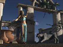 Panther startles jungle princess. Fantasy princess in jungle palace startled by wild cat Royalty Free Stock Photography