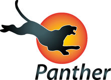 Panther and sun, animal and travel logo Stock Photography