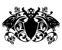 Panther vector emblem - black animal heads and heraldic shield Royalty Free Stock Images