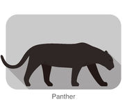 Panther walking side flat 3D icon design Royalty Free Stock Images