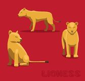 Panthera Lioness Cartoon Vector Illustration Stock Photography