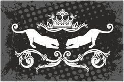 Pantherrahmen mit Krone Lizenzfreies Stockfoto