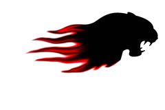 Panthers head with flame isolate. Panthers head with flame waves stylish isolate stock illustration