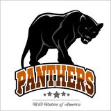 Panthers mascot - vector illustration. Isolated on white Stock Image