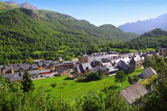 Panticosa village high view slate roofs Pyrenees Stock Photography