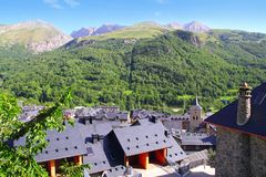 Panticosa village high view slate roofs Pyrenees Royalty Free Stock Photo
