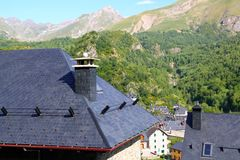 Panticosa village high view slate roofs Pyrenees Stock Photo