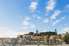 The Pantiero area in Cannes` old town Suquet tower and Vieux Po Royalty Free Stock Photography