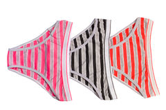 Panties. Three beautiful multicolored women's panties Royalty Free Stock Photo