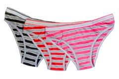 Panties. Tree multy-colored women's panties Royalty Free Stock Photography