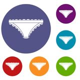 Panties with frill icons set. In flat circle red, blue and green color for web Stock Image