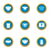 Panties icons set, flat style. Panties icons set. Flat set of 9 panties vector icons for web isolated on white background Stock Photo