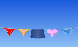 Panties on the rope. Vector conceptual illustration panties on the rope and blue sky behind Royalty Free Stock Images