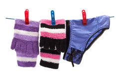 Panties and socks on rope Stock Images
