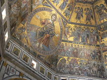 Pantocrator. View of Florence's Battistero interior mosaic Stock Photo