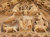 Pantocrator, Burgos ( Spain ). Door of the Sarmental detail of gothic Burgos cathedral (Spain Stock Photos