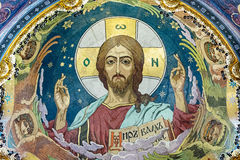 Pantocrator - mosaic on the inside of the central dome. The insc Royalty Free Stock Image