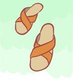 Pantoffel für die entspannenden und einfachen Wege auf dem Strand und den Häusern vektor abbildung