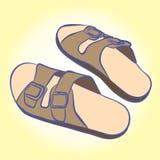 Pantoffel für die entspannenden und einfachen Wege auf dem Strand und den Häusern stock abbildung