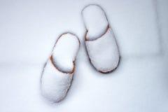 Pantoffel im Schnee Stockfotografie