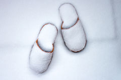 Pantoffels in sneeuw stock fotografie