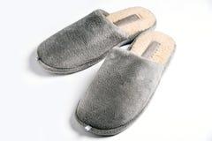 Pantofola comoda dell'uomo grigio Fotografia Stock Libera da Diritti