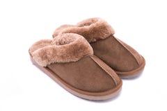 Pantofola di cuoio isolata Fotografie Stock