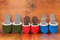 Pantofola in una linea Fotografie Stock