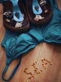 Pantofole blu della spiaggia e del costume da bagno Fotografie Stock Libere da Diritti
