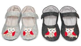 Pantofole domestiche immagine dei gufi fotografie stock libere da diritti