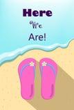 Pantofole ed onda di oceano, illustrazione verticale di vettore per la vacanza estiva Immagine Stock Libera da Diritti