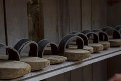Pantofole per la visita della moschea Fotografia Stock