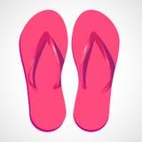Pantofole rosa della spiaggia del fumetto Fotografia Stock Libera da Diritti