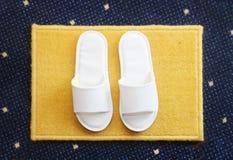 Pantofole sul fondo del tappeto Fotografie Stock
