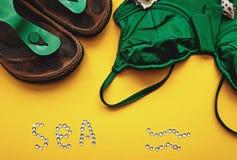 Pantofole verdi della spiaggia e del costume da bagno Fotografia Stock
