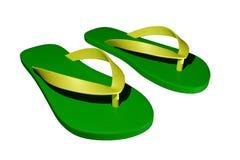 Pantofole verdi e gialle Fotografia Stock