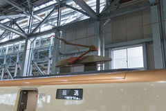 Pantograph of E7 Series Shinkansen train. Royalty Free Stock Photo